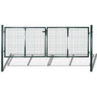 Puerta de valla de acero verde 306x150 cm