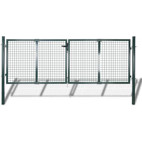 Puerta de valla de acero verde 306x175 cm