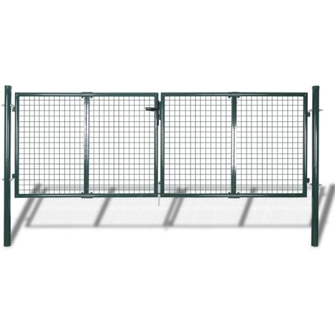 Puerta de valla de acero verde 306x175 cm - Verde