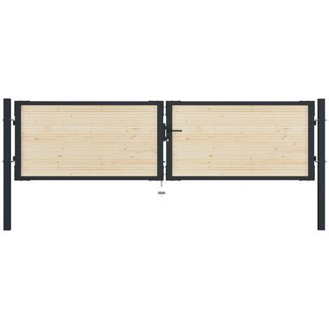 Puerta de valla de acero y madera de abeto 310x125 cm