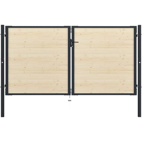 Puerta de valla de acero y madera de abeto 310x200 cm