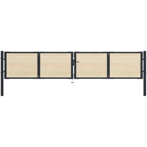 Puerta de valla de acero y madera de abeto 408x125cm
