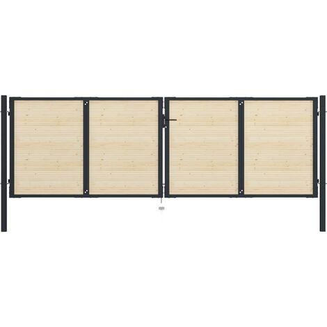 Puerta de valla de acero y madera de abeto 408x175cm