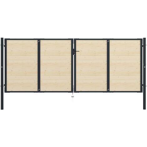 Puerta de valla de acero y madera de abeto 408x200cm