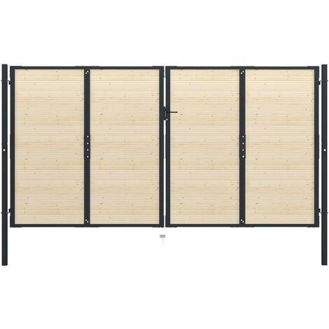 Puerta de valla de acero y madera de abeto 408x250cm