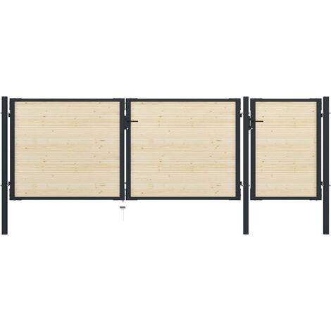 Puerta de valla de acero y madera de abeto 410x175 cm