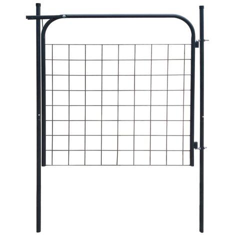 Puerta de valla de jardín 100x100 cm gris antracita