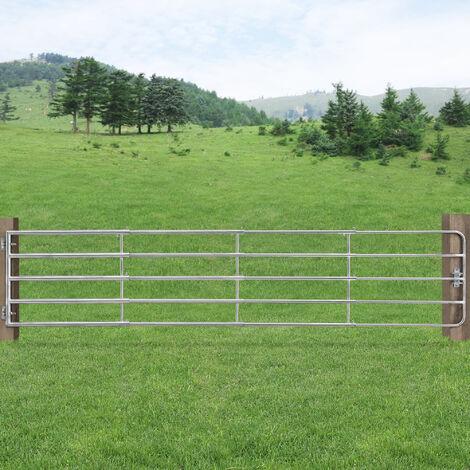 Puerta de valla de jardín - 143-400 cm x 90 cm - longitud ajustable - acero galvanizado puerta de jardín - Vallados