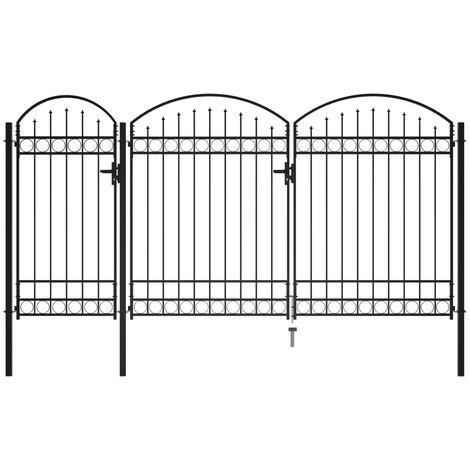 Puerta de valla de jardín con arco superior acero negro 2,5x4 m