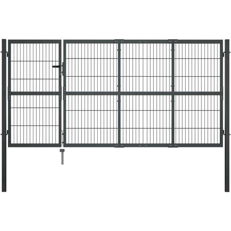 Puerta de valla de jardín con postes acero antracita 350x120 cm