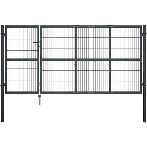 Puerta de valla de jardin con postes acero antracita 350x120 cm