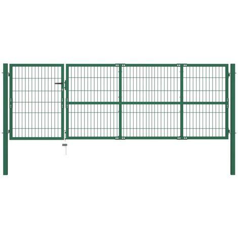Puerta de valla de jardín con postes acero verde 350x100 cm