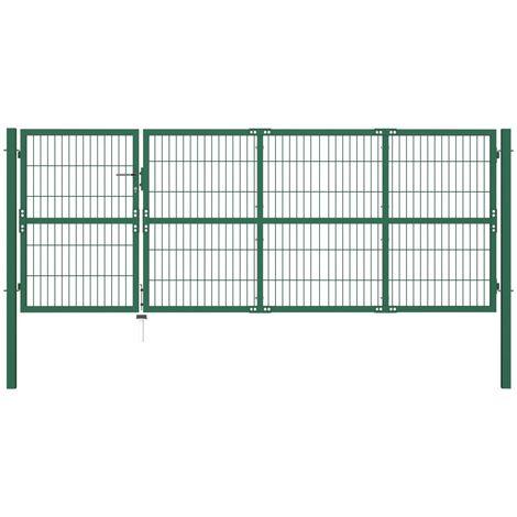 Puerta de valla de jardín con postes acero verde 350x120 cm