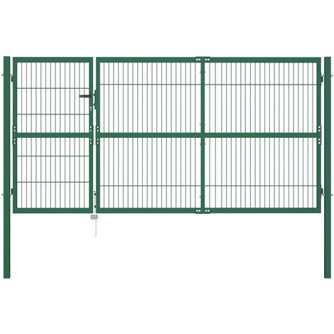 Puerta de valla de jardín con postes acero verde 350x140 cm