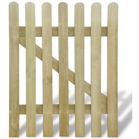 Puerta de valla de jardín de madera 100x120 cm - Marrón