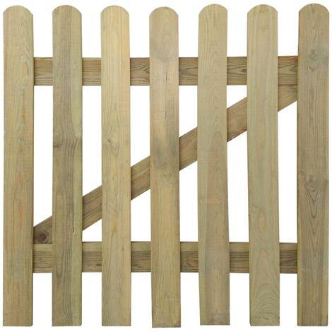 Puerta de valla de jardín madera 100x100 cm - Marrón