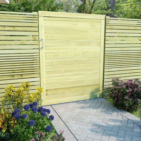 Puerta de valla de jardin madera pino impregnada 125x100 cm