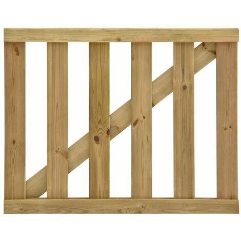 Puerta de valla de listones madera de pino impregnada 100x80 cm
