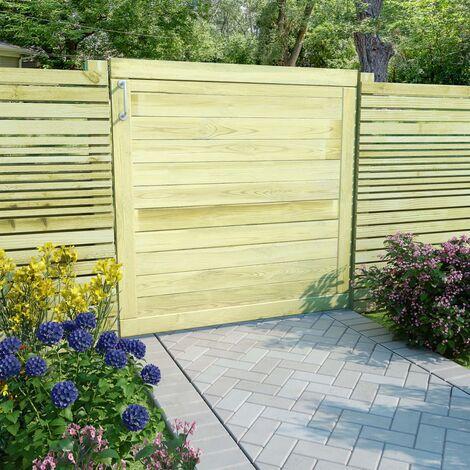 Puerta de valla de madera de pino impregnada 100x100 cm