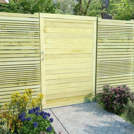Puerta de valla de madera de pino impregnada 150x100 cm - Verde
