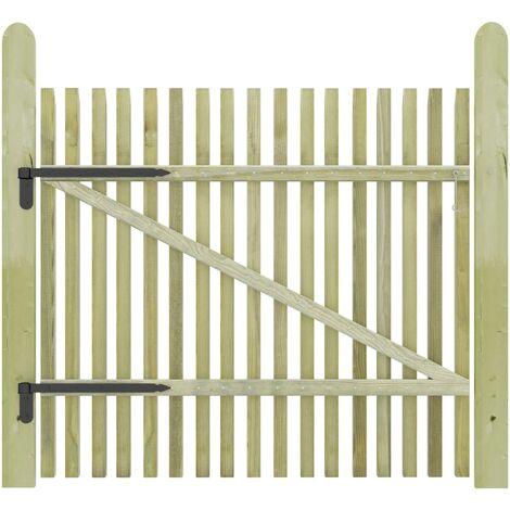 Puerta de valla de postes madera pino impregnada 100x100 cm