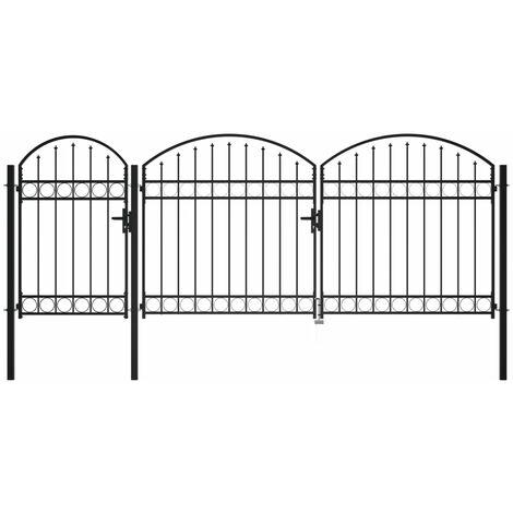 Puerta de valla jardín con arco superior acero negro 1,75x4 m