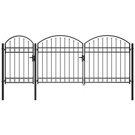 Puerta de valla jardin con arco superior acero negro 1,75x4 m