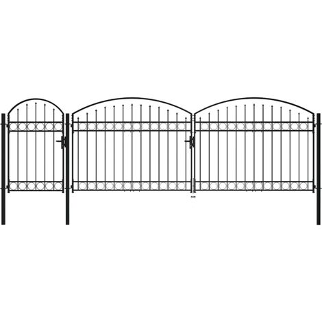 Puerta de valla jardín con arco superior acero negro 1,75x5 m