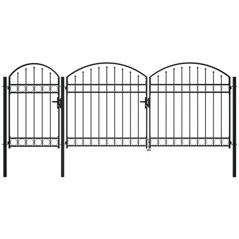 Puerta de valla jardín con arco superior acero negro 2,25x4 m