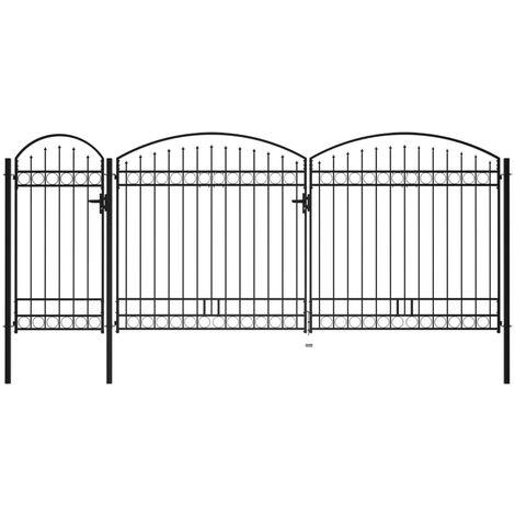 Puerta de valla jardín con arco superior acero negro 2,25x5 m