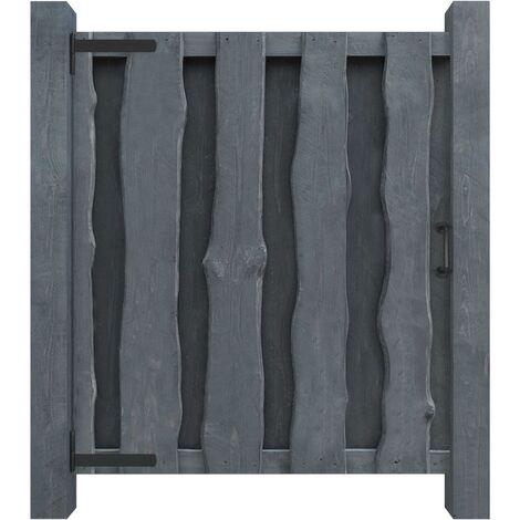 Puerta de valla madera de pino impregnada 100x125 cm gris