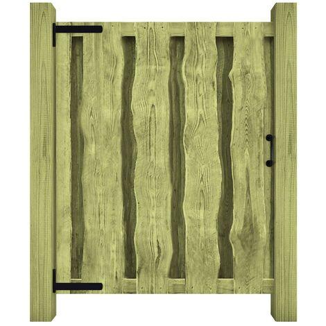 Puerta de valla madera de pino impregnada 100x125 cm verde