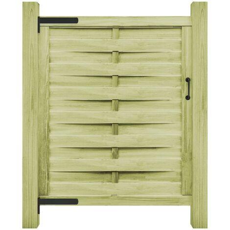 Puerta de valla madera de pino impregnada verde 100x125 cm - Verde