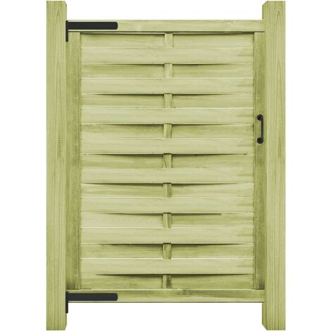 Puerta de valla madera de pino impregnada verde 100x175 cm - Verde