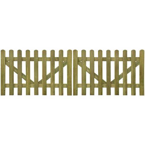 Puerta de valla madera impregnada 2 unidades 300x100 cm - Marrón