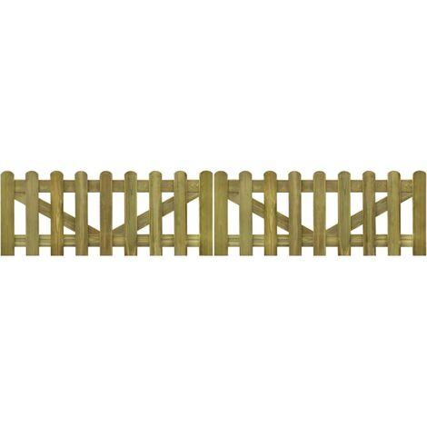 Puerta de valla madera impregnada 2 unidades 300x60 cm - Marrón