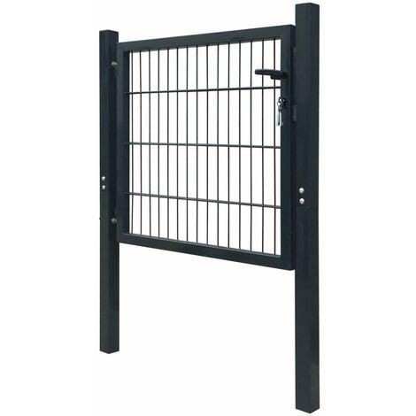 Puerta de valla metalica acero gris antracita 103x150 cm