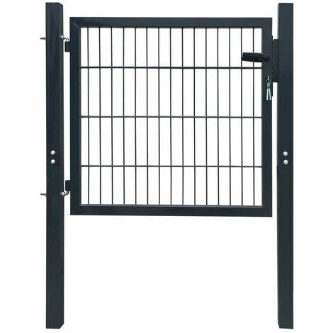 Puerta de valla metálica acero gris antracita 103x150 cm - Gris