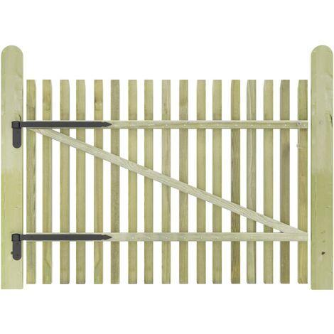 Puerta de valla postes madera de pino impregnada 100x75 cm