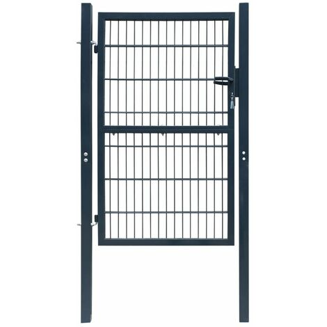 Puerta de verja 2D (individual) gris antracita 106 x 210 cm