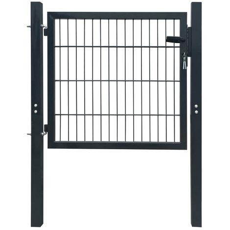 Puerta de verja 2D (sencilla) gris antracita 106 x 130 cm