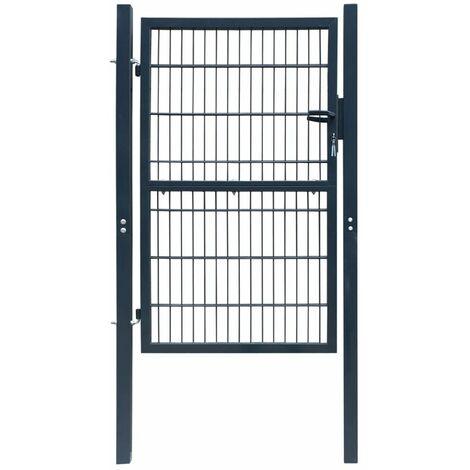 Puerta de verja 2D (sencilla) gris antracita 106 x 190 cm