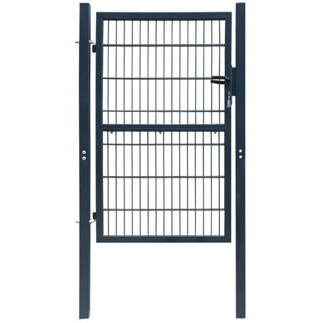 Puerta de verja 2D (sencilla) gris antracita 106 x 190 cm HAXD04122