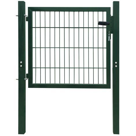 Puerta de verja 2D (sencilla) verde 106 x 130 cm
