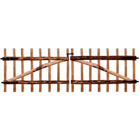 Puerta doble para valla 300x100 cm madera de avellano