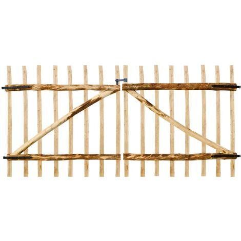 Puerta doble para valla 300x150 cm madera de avellano