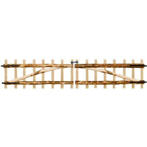 Puerta doble para valla 300x60 cm madera de avellano