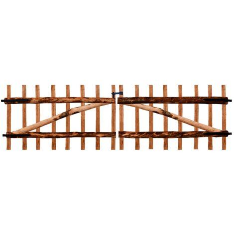 Puerta doble para valla 300x90 cm madera de avellano impregnada