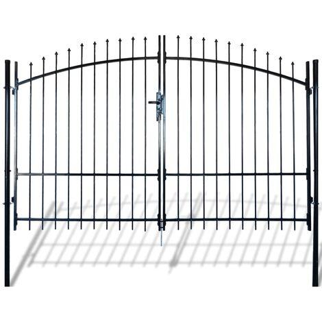 Puerta doble para valla con puntas de lanza 300x225 cm