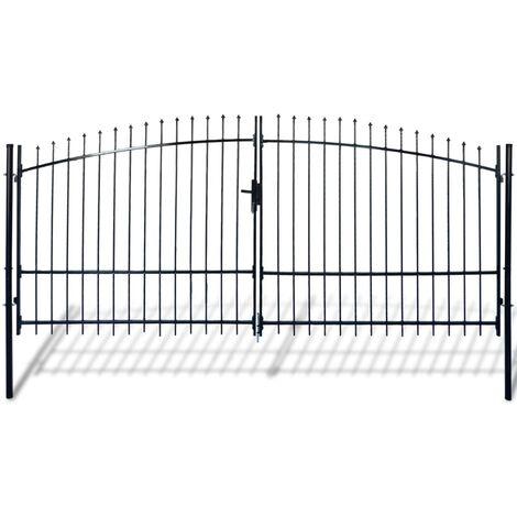 Puerta doble para valla con puntas de lanza 400x225 cm